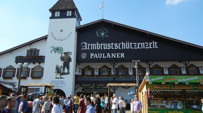 One of the building packed with people at Oktoberfest in Munich