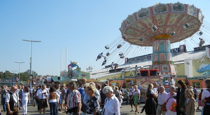 The rides outside at Oktoberfest in Munich, Germany