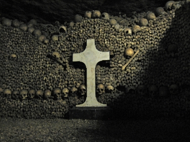 Paris Catacombs skulls and cross