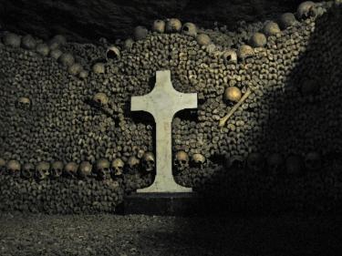 Paris Catacombs skulls and cross
