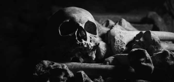 bones and skulls in the Paris Catacombs