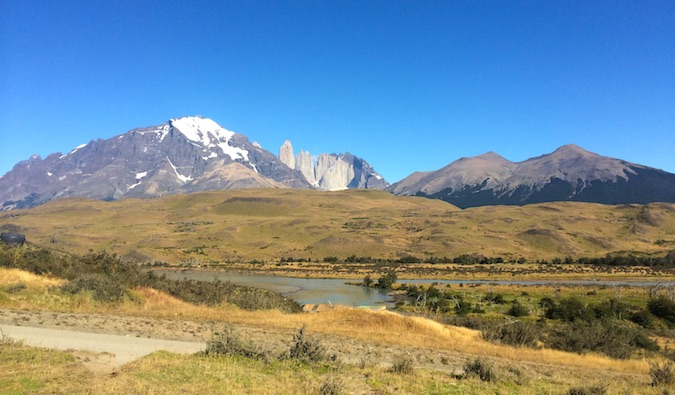 Entrance of Torres del Paine National Park with the Torres towers