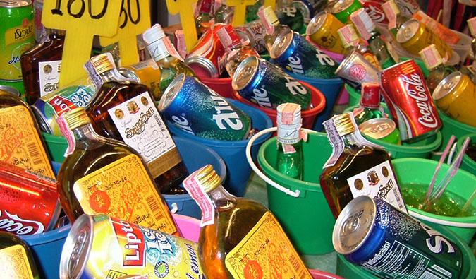 Dozens of the dangerous booze buckets of Ko Phi Phi