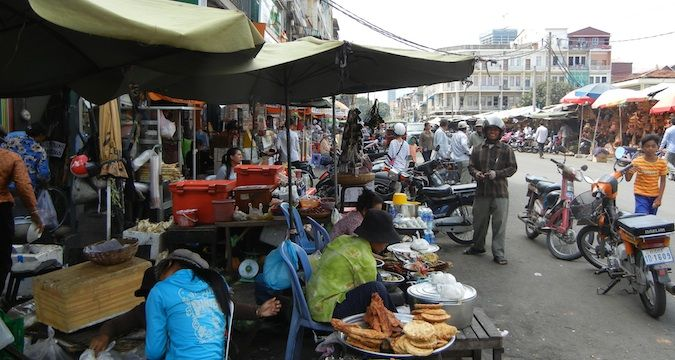 The a market in Phnom Penh, Cambodia