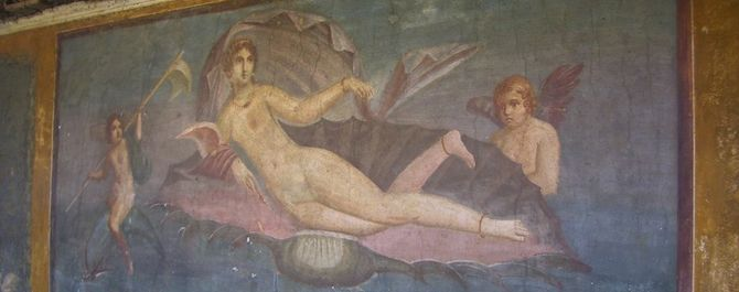 The painting of Venus in the Shell at Pompeii