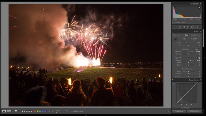 Contrast tutorial with fireworks at hogmanay in Lightroom - after