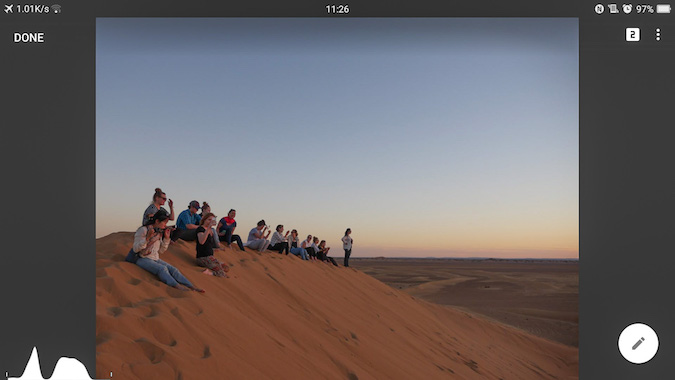 People sitting on a sand dune in Lightroom 1