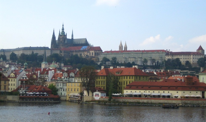 a view of prague castle from the river in prague