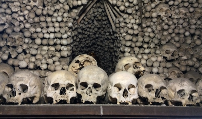 skulls at the sedlec ossuary in kutna hora