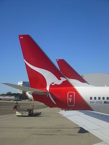 The tail of the Qantas airplane with the kangaroo logo