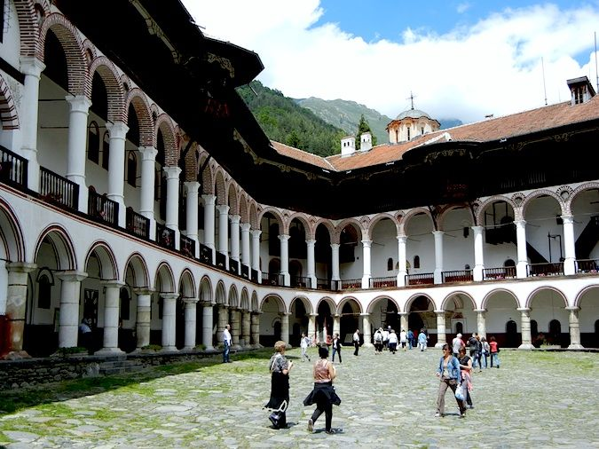 The courtyard at the Rila Monastery