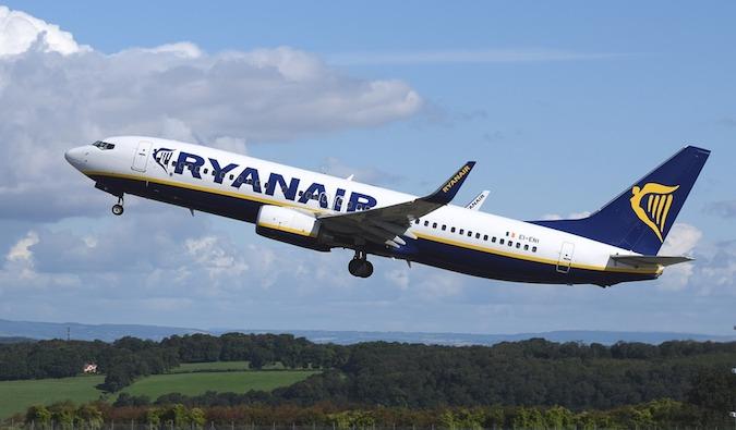 Ryanair airplane taking off in Europe