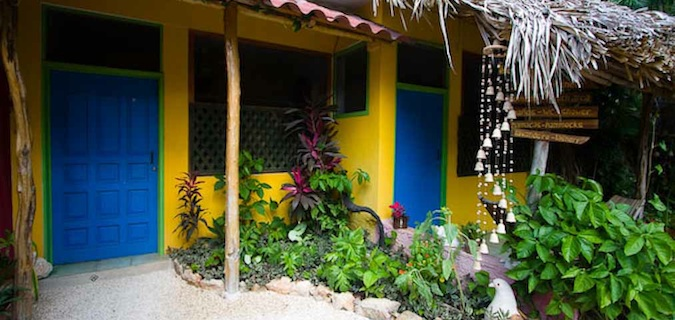 Colorful hostel door in South America