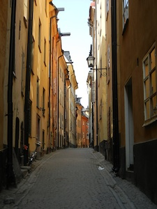A lovely view of the streets of Gamla Stan on a sunny day in Stockholm