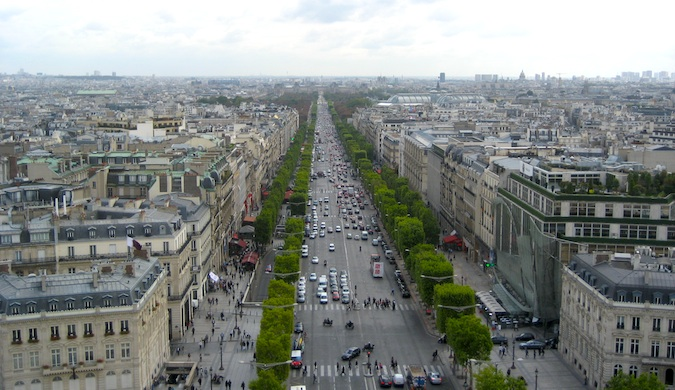A view from above of the gorgeous Champs Elyses, a famous walking street in Paris