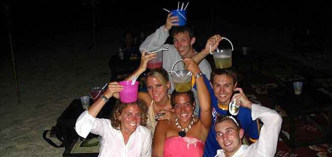 partying with friends and buckets in thailand