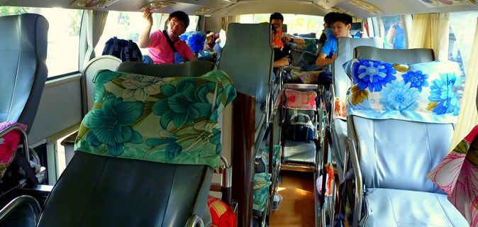 typical backpacker buses in asia
