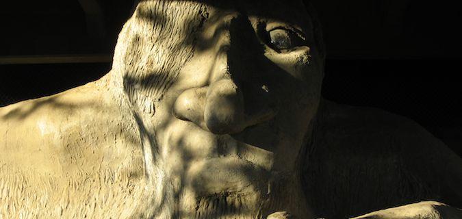 the fremont troll below aurora bridge