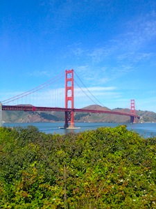Golden Gate Bridge on a sunny day in San Francisco, California