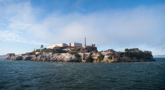 View of the whole island of Alcatraz, home to the worst criminals in the US