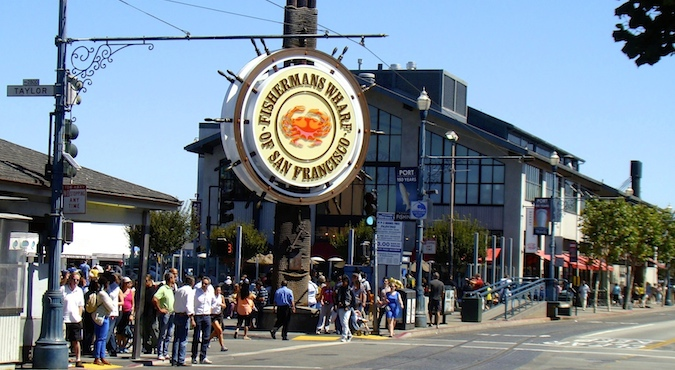 Fisherman's Warf of San Francisco at a crowded street in Ghirardelli Square, San Fran