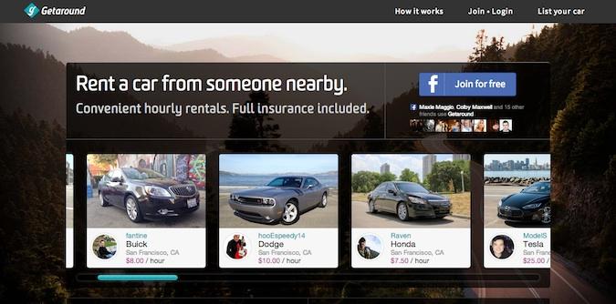 rent a car getaround website