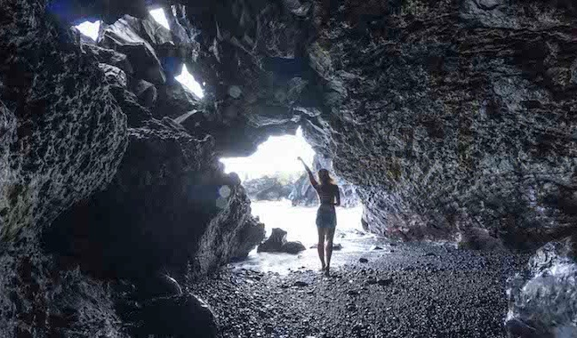 Solo woman in cave