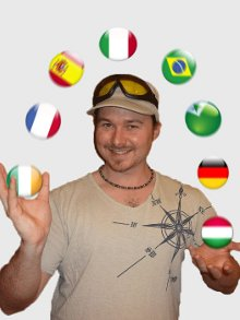 Benny the Irish Polyglot juggling many balls with country flags on them