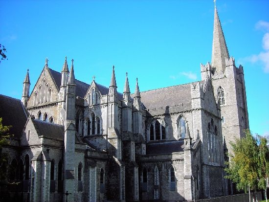 Saint Patrick's Cathedral in Ireland on a particularly sunny day