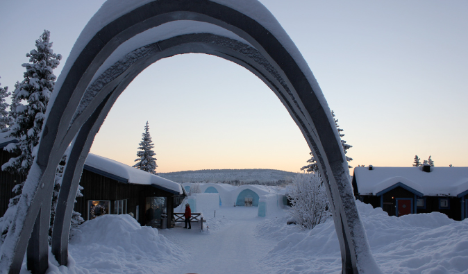 Entrance to the The IceHotel in the snowy hillside of Sweden
