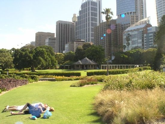 A couple lying on the grass at the Royal Botanic Gardens and Mrs Macquarie Chair in Sydney on a sunny day