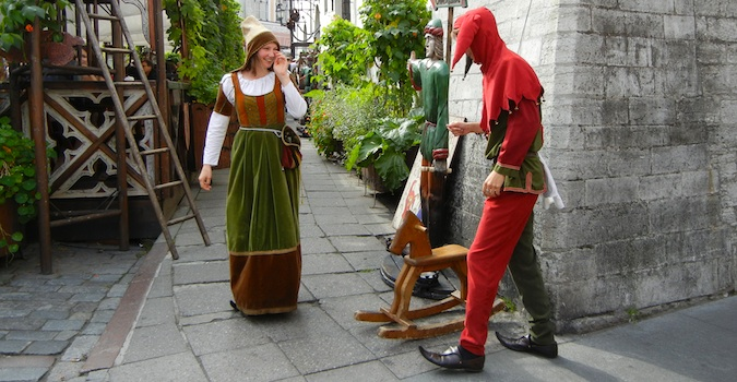 medieval dressed people in Tallinn, Estonia