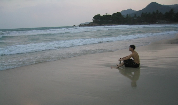 reflecting on a beach in thailand