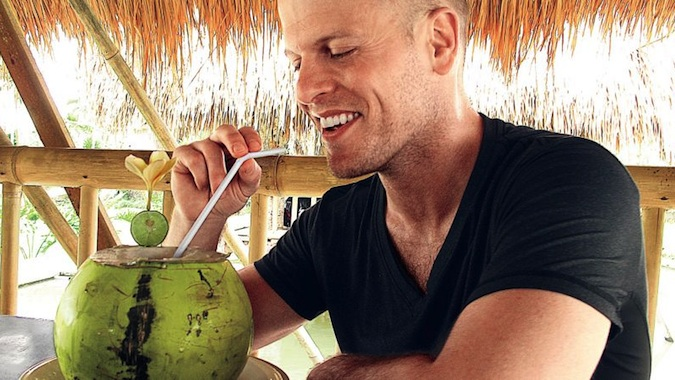tim ferriss eating a coconut