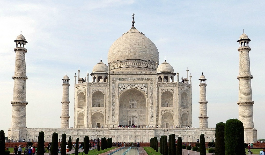 Taj Mahal, Agra, India, marble tomb built for Emperor Shah Jahan's deceased wife, UNESCO