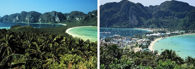 Ko Phi Phi 25 years ago and then now