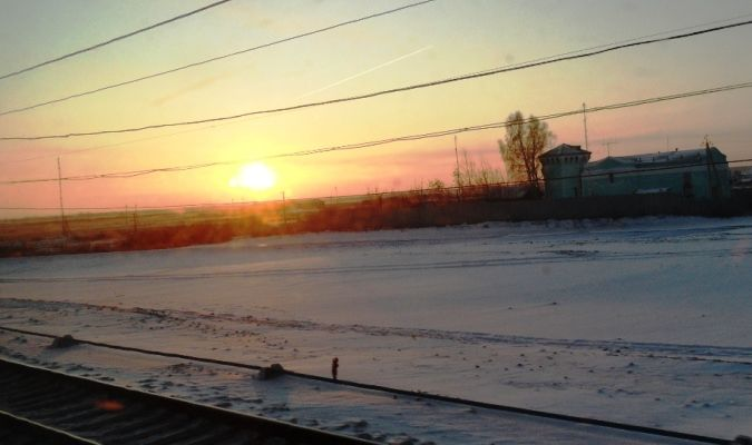 sunset on the trans-siberian railway