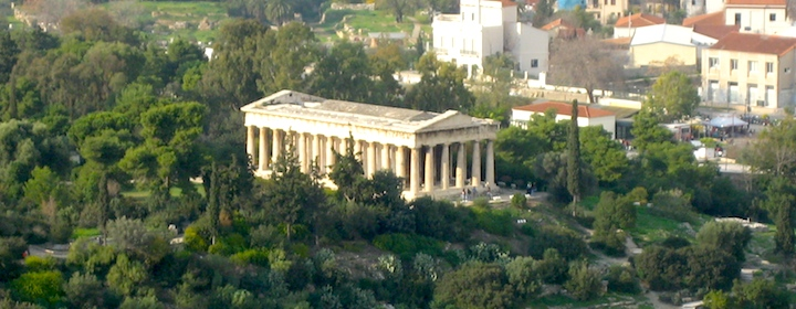 Ancient Greek ruins in the city of Athens, Greece