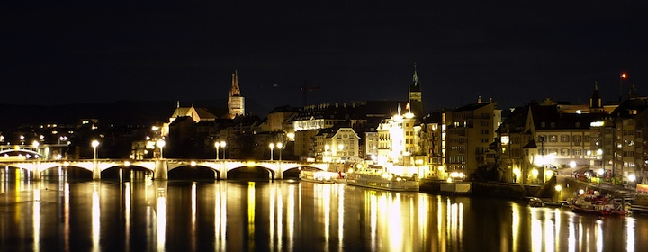 Traveling through beautiful basel and strolling through the medieval city at night in switzerland