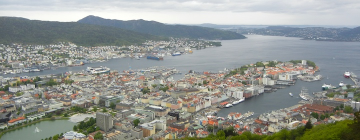a bird's eye view of Bergen, Norway