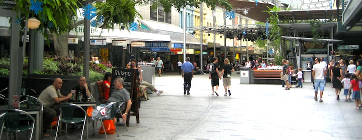 Lounging on the main pedestrian street in Brisbane, Australia