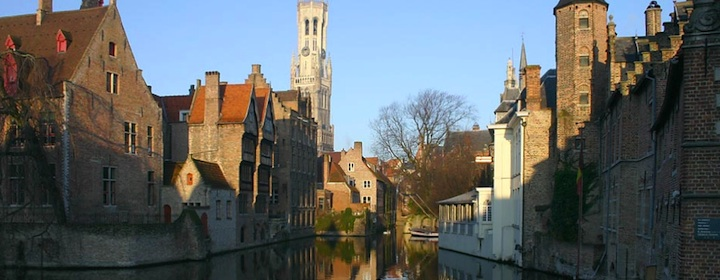 Strolling through romantic city of Bruges in Belgium