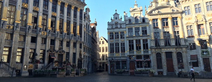 Admiring the town square of Brussels while traveling in Belgium