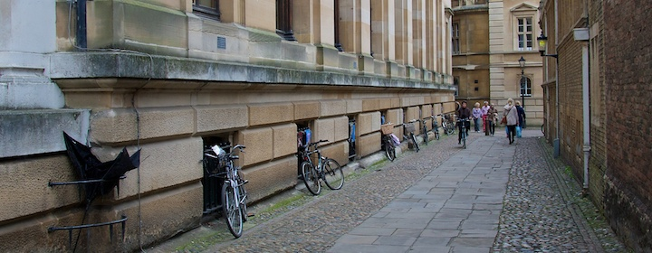 Biking around the university in Cambridge, England