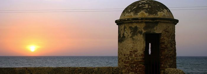 Soaking up the Colombia sunset over some ruins