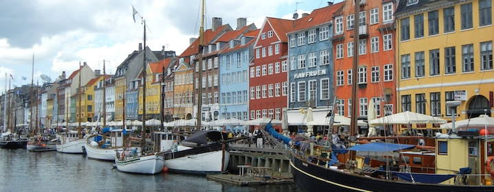 Colorful houses and boats in Denmark