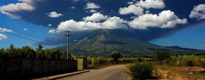 Green hills and roads in El Salvador in Central America