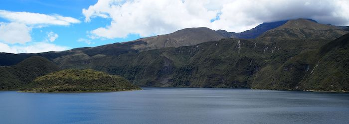 Exploring the beautiful lake and scenery outside Quito, Ecuador