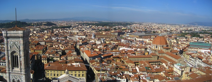 Florence, Italy from above picture taking while backpacking around Europe