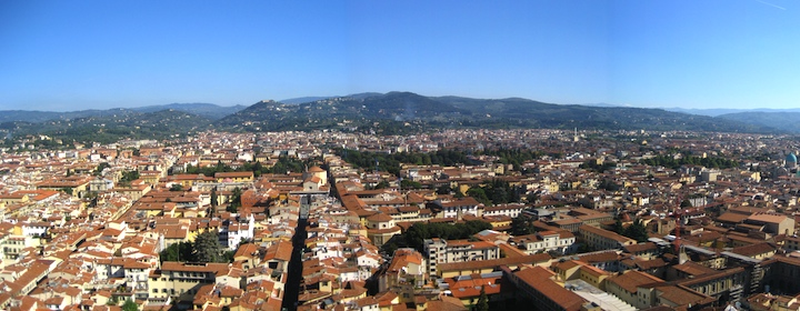 A panoramic view of the city of Florence, Italy from the Duomo